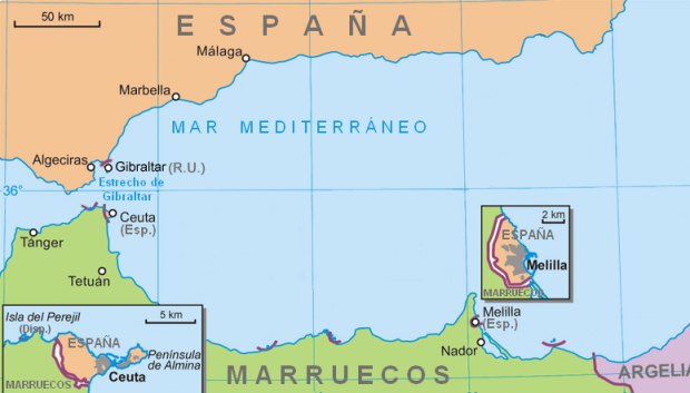 Location of Ceuta and Melilla 2007