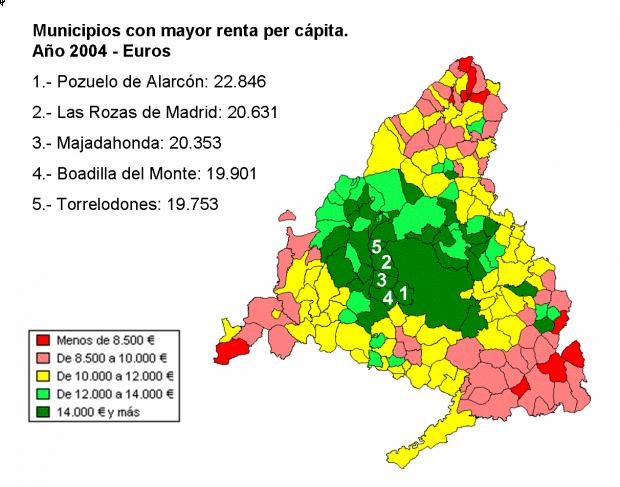Renta per cápita en Comunidad de Madrid 2004