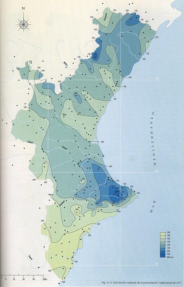 Precipitación media anual en la Comunidad Valenciana