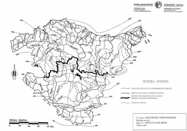 Mapa de precipitación del País Vasco
