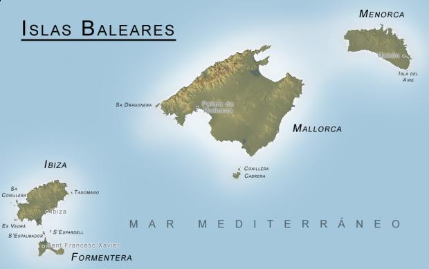 Mapa físico de las Islas Baleares 2006