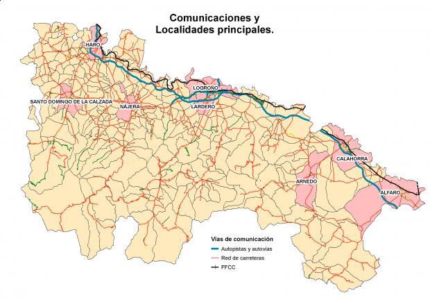 Carreteras y principales localidades de La Rioja 2007