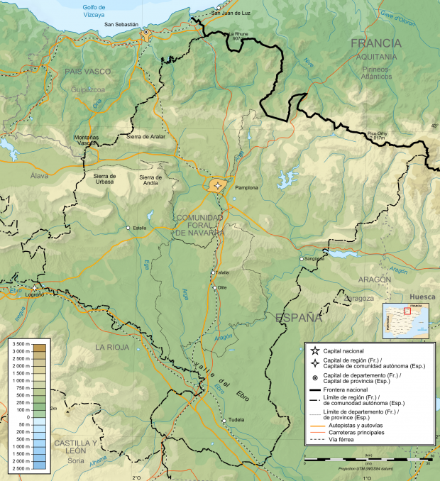 Mapa físico de Navarra 2010