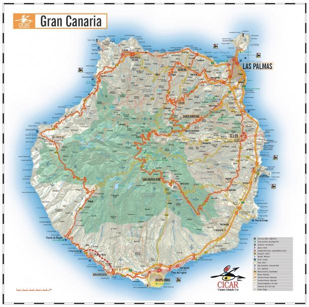 Mapa de carreteras de la Isla Gran Canaria