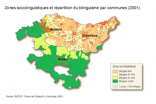 Las zonas sociolingüísticas y el bilingüismo en el País Vasco 2001