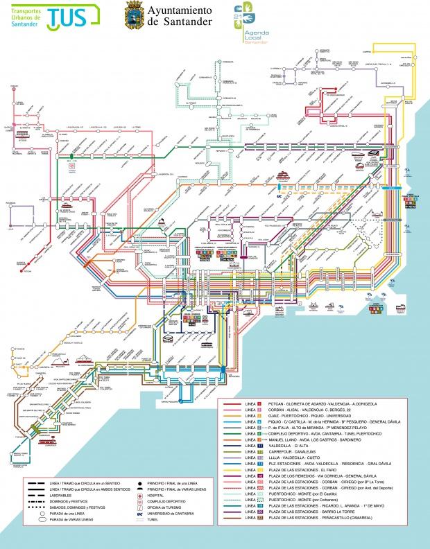 Red de líneas de autobuses de Santander