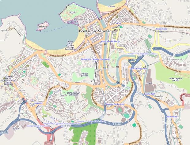 Donostia-San Sebastián map