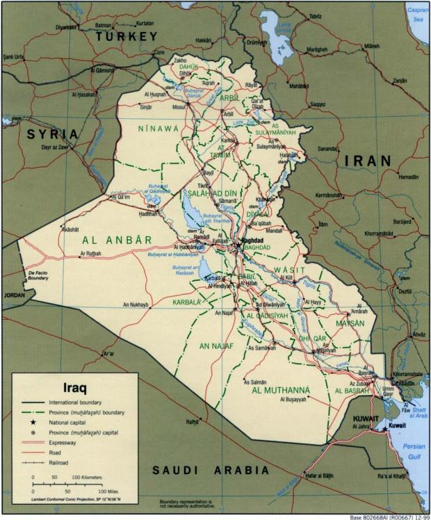 Iraq Political Map 1999