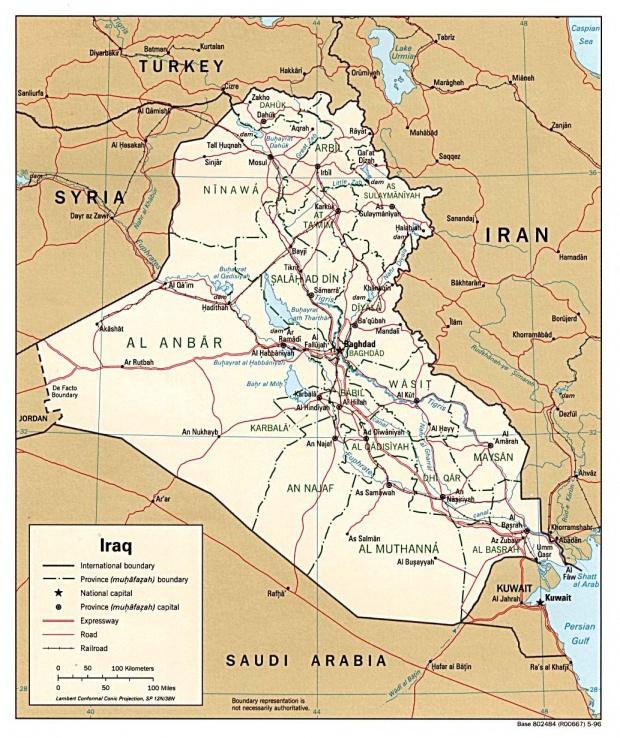 Iraq Political Map 1996