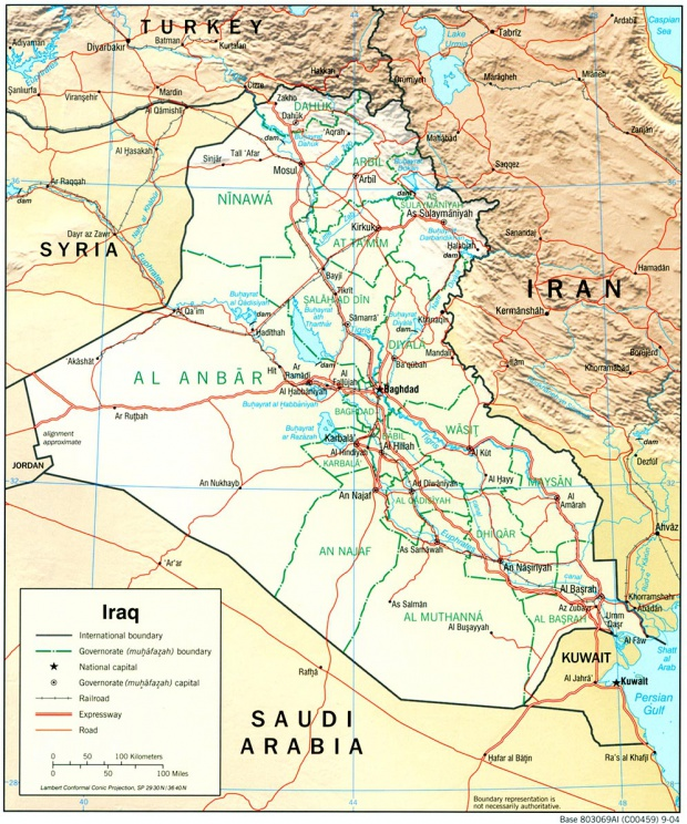 Iraq Physical Map 2004