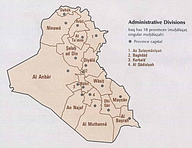 Administrative Divisions of Iraq 1993