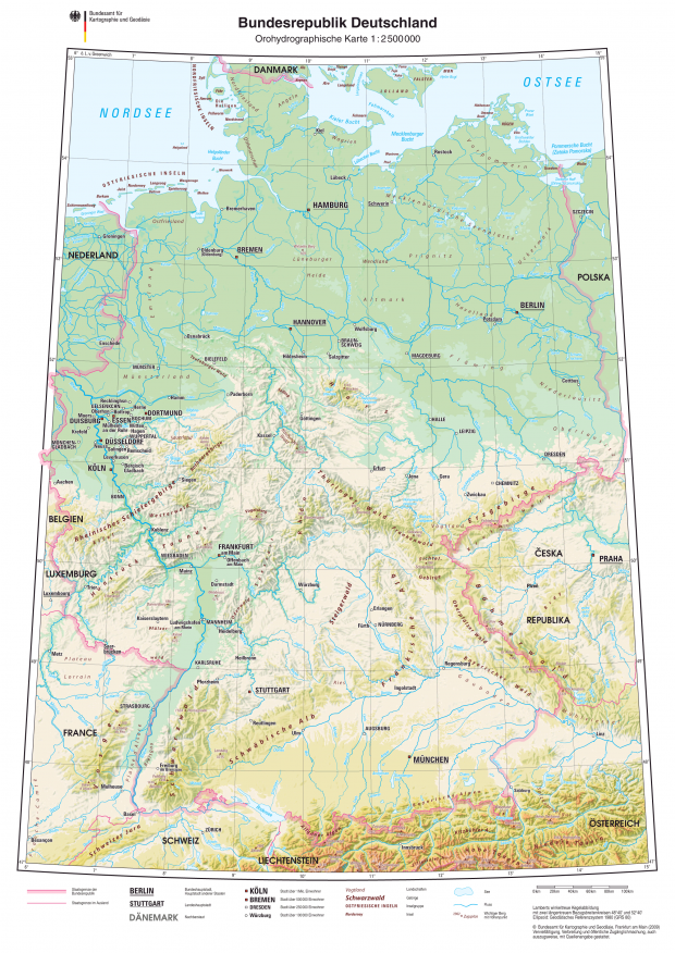 Physical map of Germany 2009