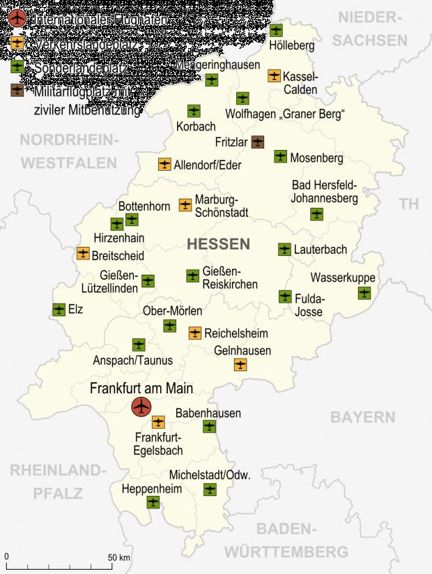 Aeropuertos y aeródromos en Hesse 2007