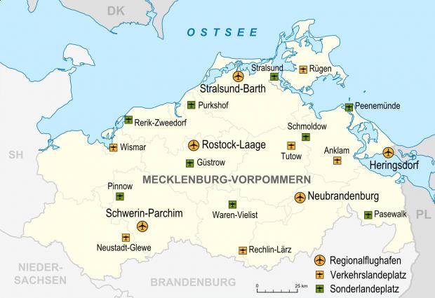 Aeropuertos y aeródromos en Mecklemburgo-Pomerania Occidental 2007
