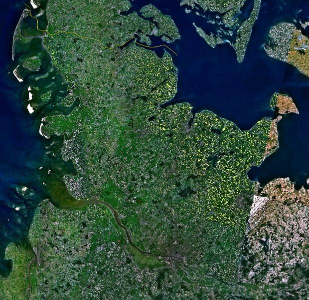 Imagen de satélite de Schleswig-Holstein