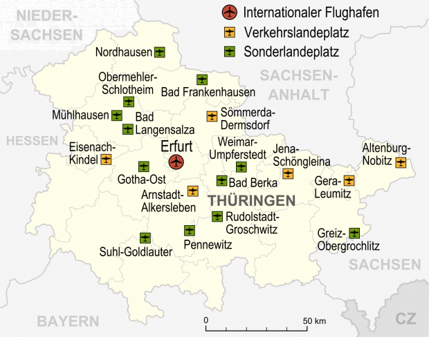 Airports and airfields in Thuringia 2007