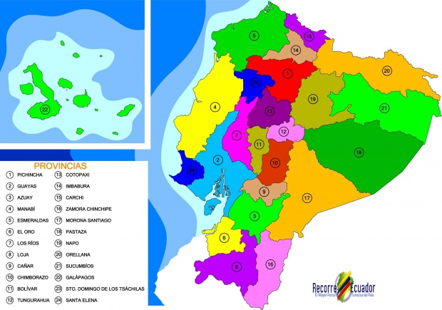 Political map of Ecuador