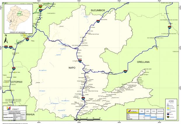 Mapa de carreteras de Napo 2010