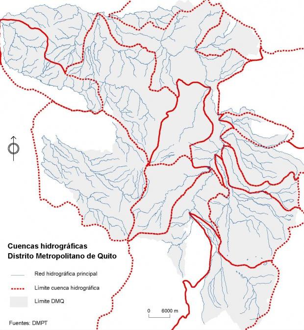 Mapa de Cuencas hidrográficas del Distrito Metropolitano de Quito