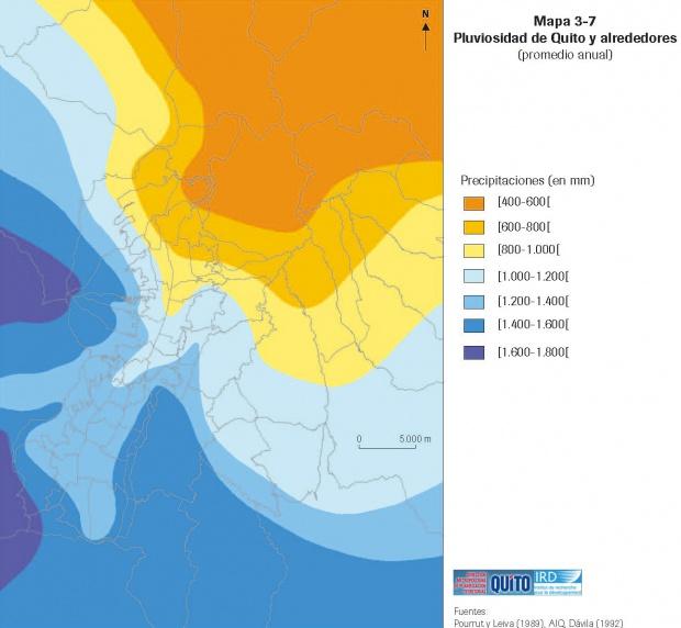 Mapa de Precipitaciones en el área metropolitana de Quito