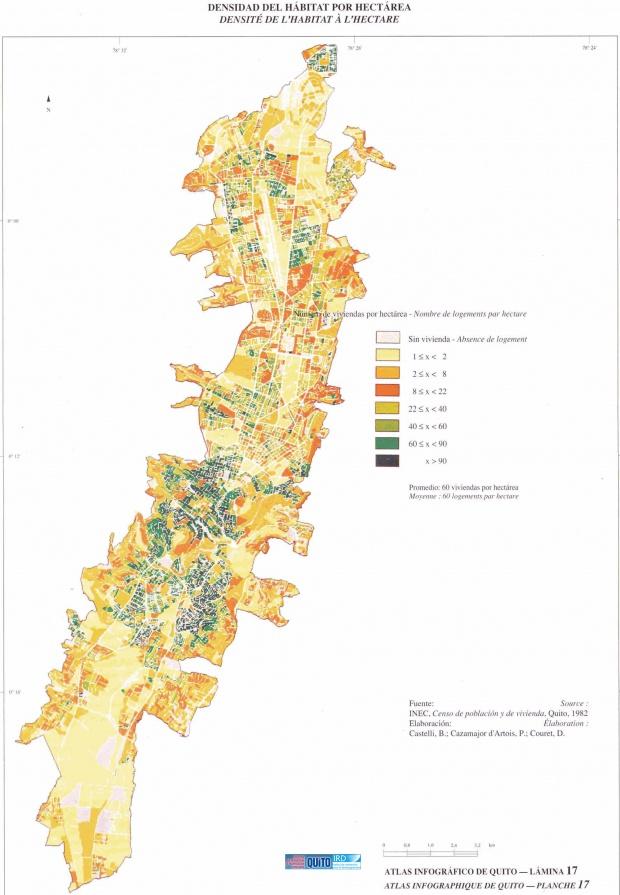 Mapa de Densidad del hábitat por hectárea en Quito 1982