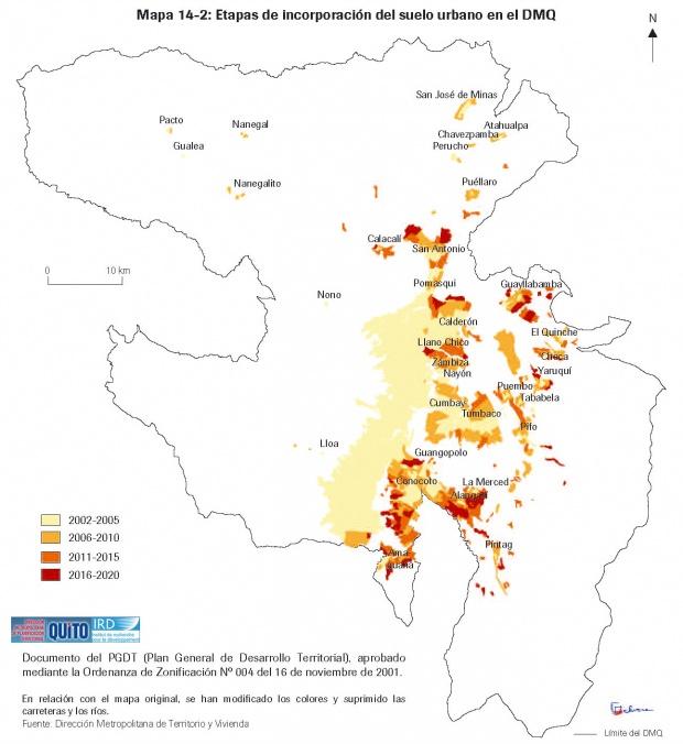 Mapa de Etapas de incorporación del suelo urbano en el Distrito Metropolitano de Quito 2003