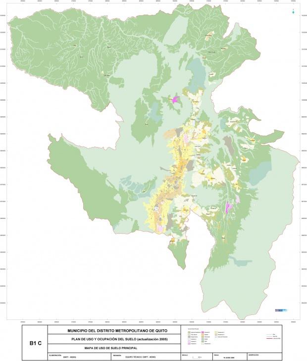 Mapa de Uso y ocupación del suelo en el Distrito Metropolitano de Quito 2005