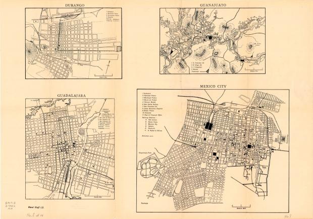 Mapa de Ciudades del Interior: Durango, Guadalajara, Guanajuato, México DF 1919