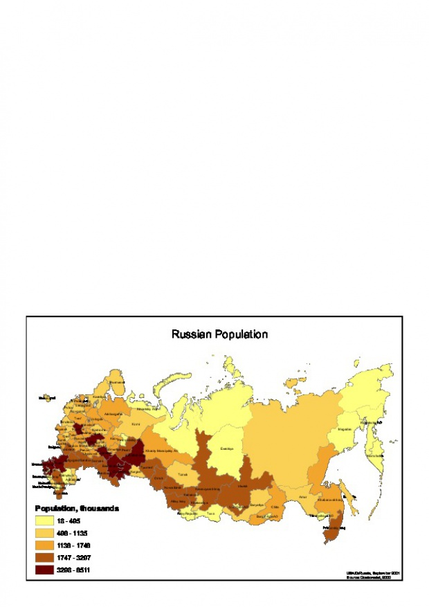 Mapa de Población de Rusia 2000