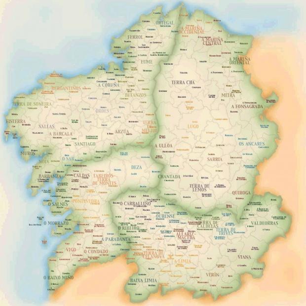 Mapa de Concellos y comarcas de Galicia