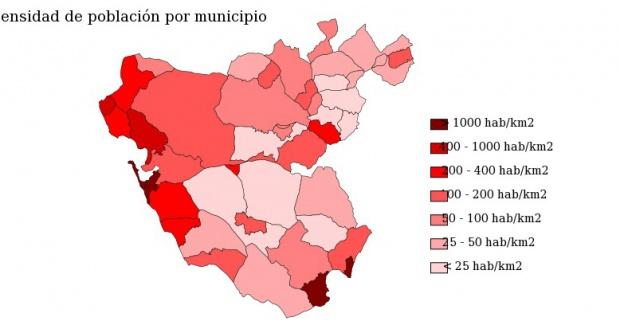 Population density of the province of Cádiz 2007