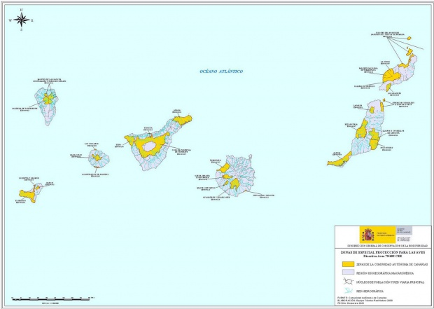 Special Protection Areas for birds in the Canary Islands