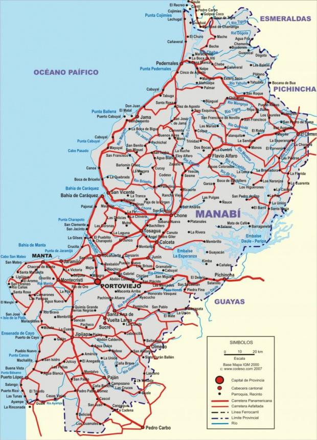 Mapa de carreteras de Manabí