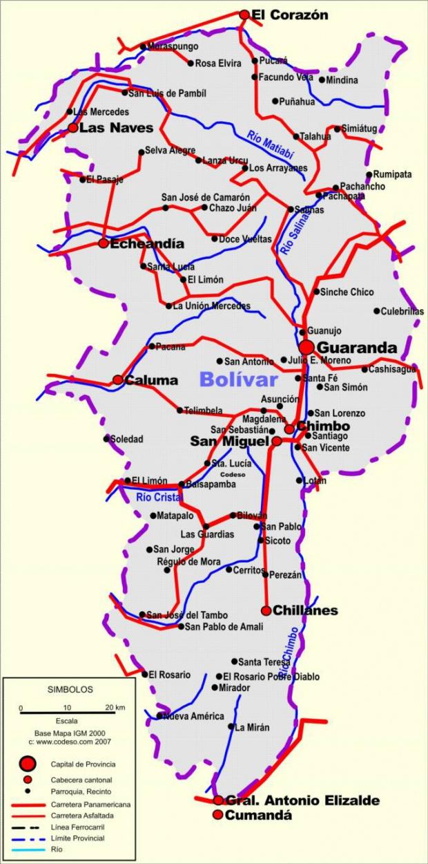 Mapa de carreteras de Bolívar