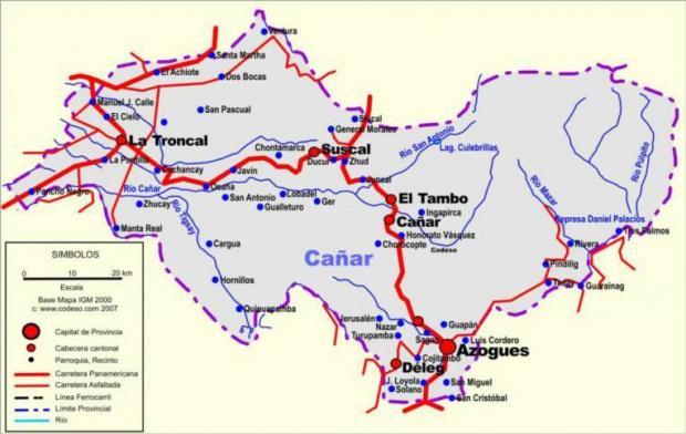 Mapa de carreteras de Cañar