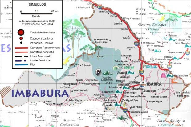 Mapa de carreteras de Imbabura