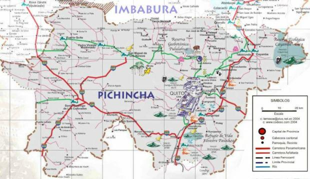 Mapa de carreteras de Pichincha