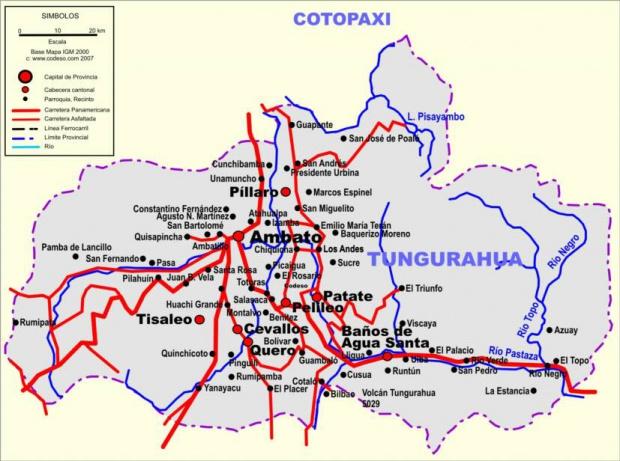 Mapa de carreteras de Tungurahua