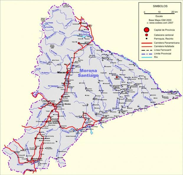 Mapa de carreteras de Morona Santiago
