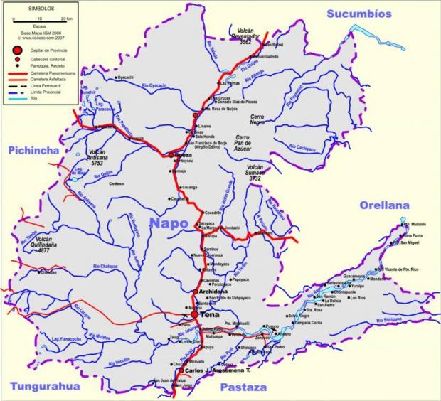 Mapa de carreteras de Napo