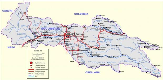 Mapa de carreteras de Sucumbíos