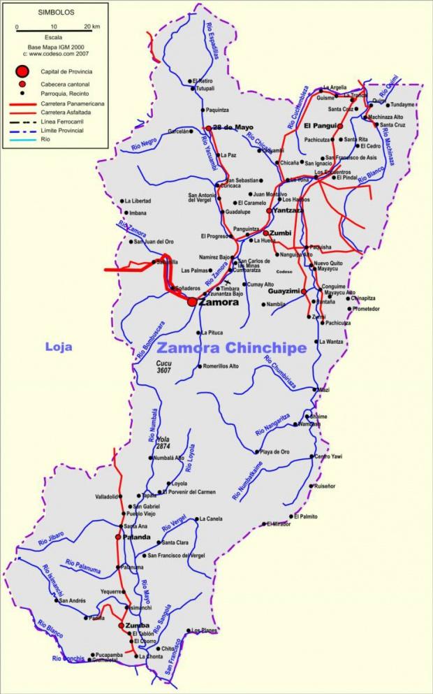 Mapa de carreteras de Zamora Chinchipe