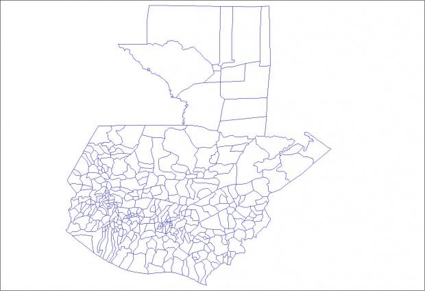 Mapa municipal mudo de Guatemala