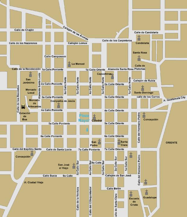 Mapa de Antigua Guatemala