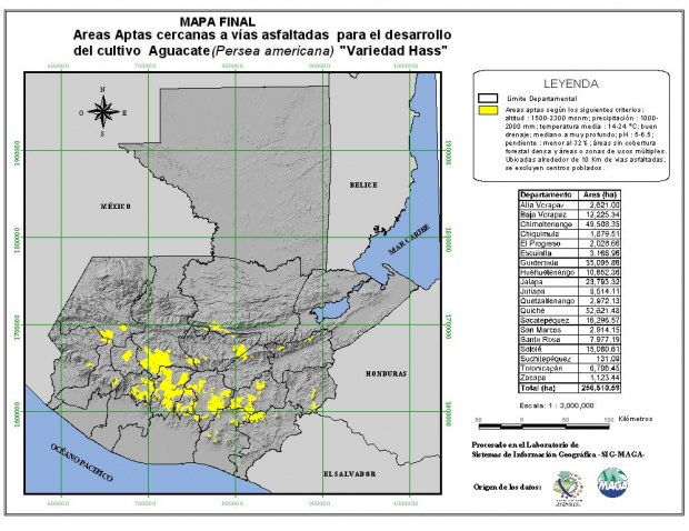 Areas suitable for growing Mango in Guatemala