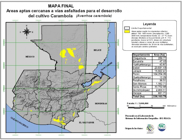 Areas suitable for growing Carambola in Guatemala