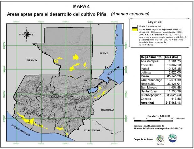 Áreas aptas para el cultivo de la Piña en Guatemala