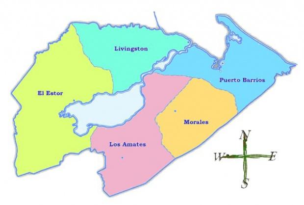 Mapa político de Izabal