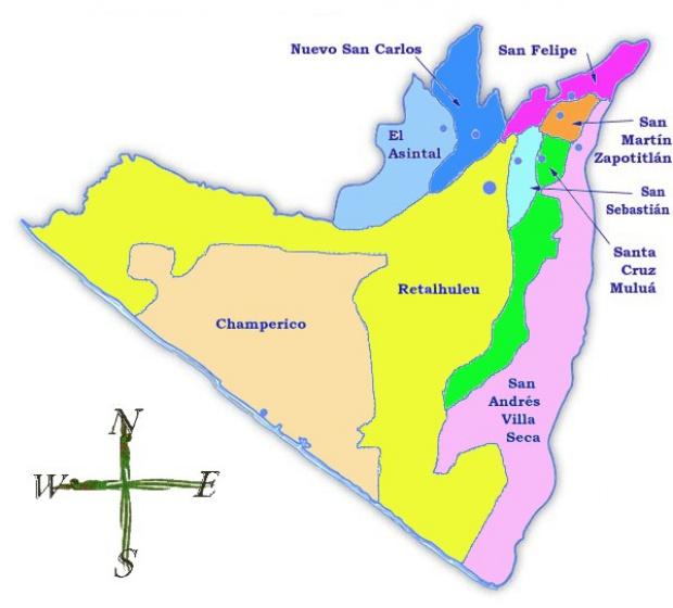 Mapa político de Retalhuleu