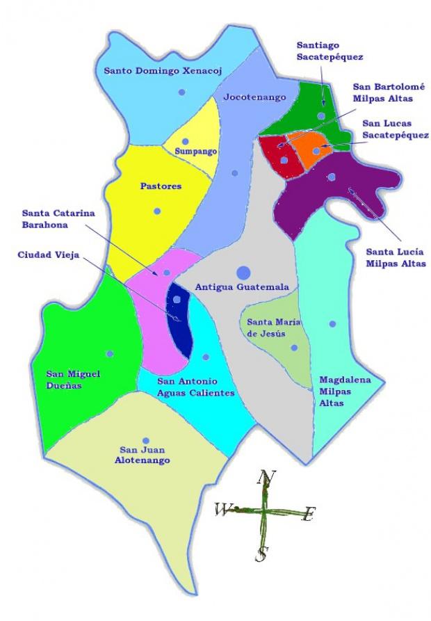 Mapa político de Sacatepéquez